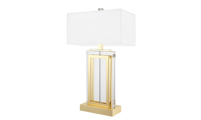 ARLINGTON TABLE LAMP Crystal Glass with Gold Finish – White Shade Product Image