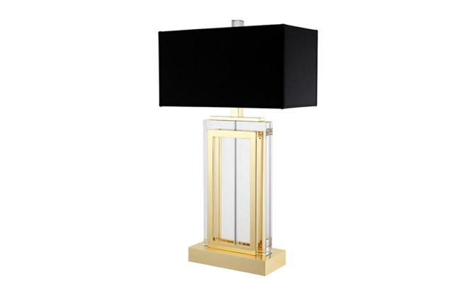 ARLINGTON TABLE LAMP Crystal Glass with Gold Finish – Black Shade Product Image