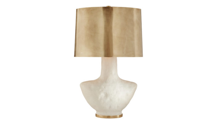 Armato Small Table Lamp White with Antique-Burnished Brass Shade Product Image