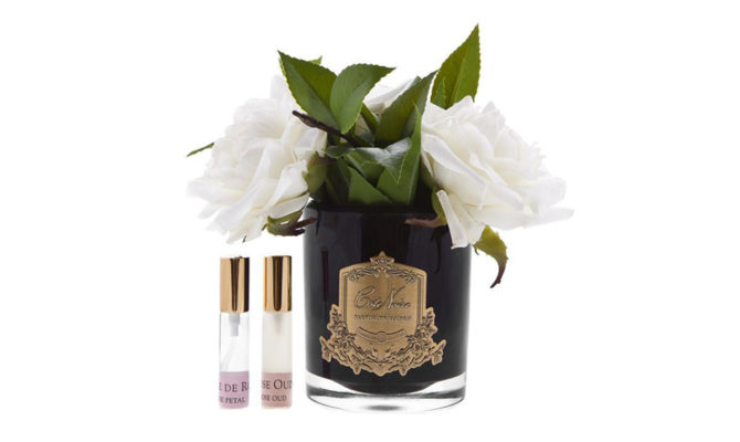 ENGLISH ROSES IN BLACK GLASS – IVORY Product Image