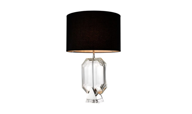 EMERALD TABLE LAMP – Nickel WITH BLACK SHADE Product Image