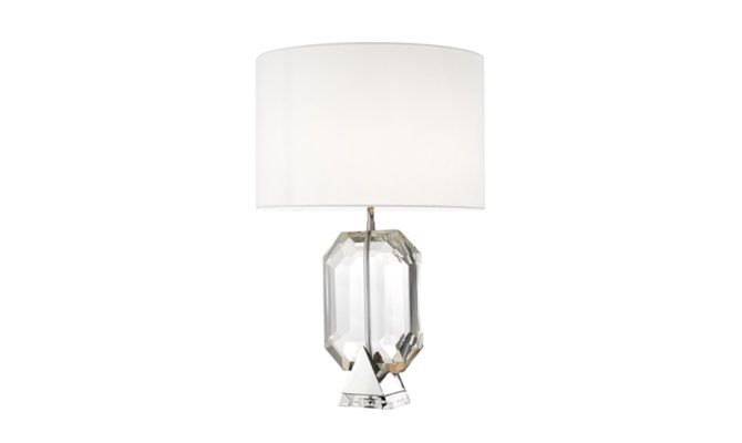 EMERALD TABLE LAMP – Nickel (white shade) Product Image