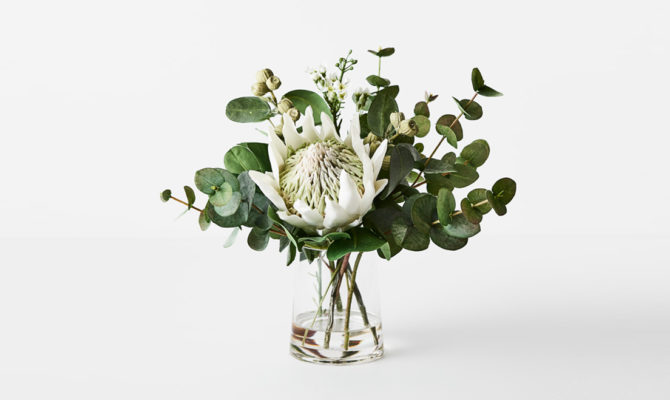 Protea King Mix In Vase / Small – White Product Image