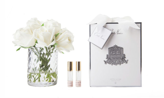 Côte Noire – Herringbone Rose Buds Ivory White in Clear Glass Product Image